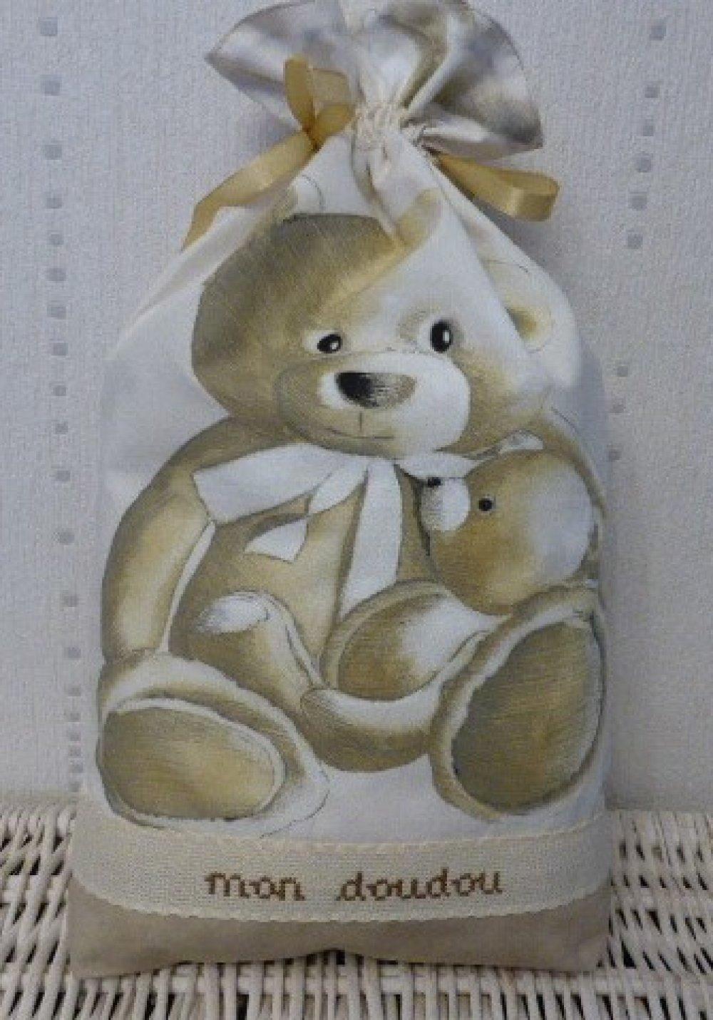 Sac à doudou brodé - Ourson Teddy