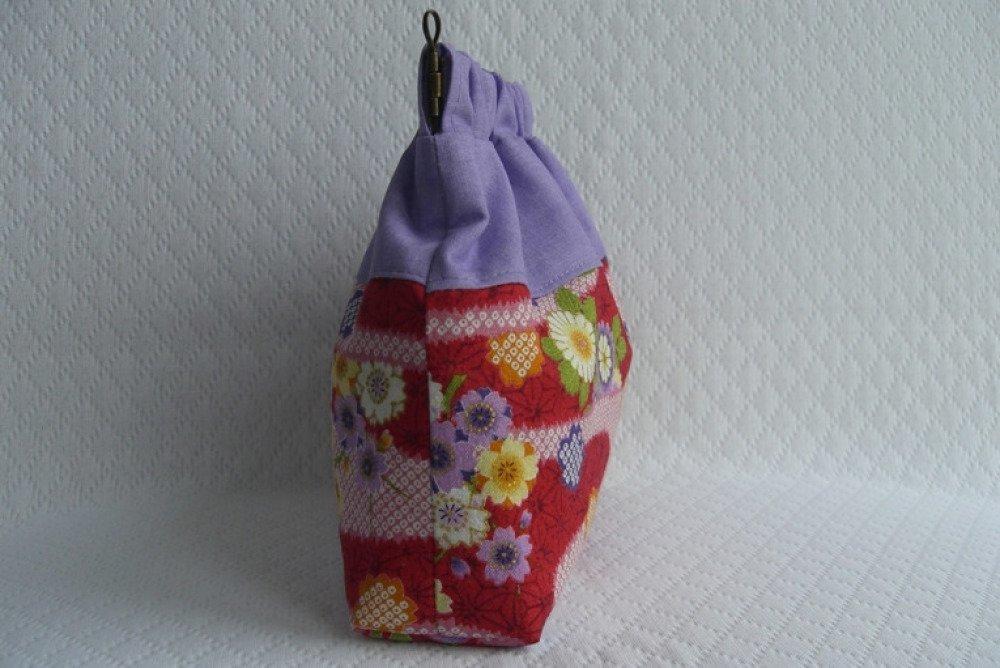 Pochette trousse petit sac tissu coton japonais motifs fleurs