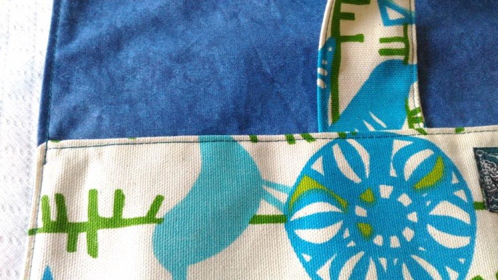 Sac à tarte doublure toile cirée coton épais vert anis bleu beige