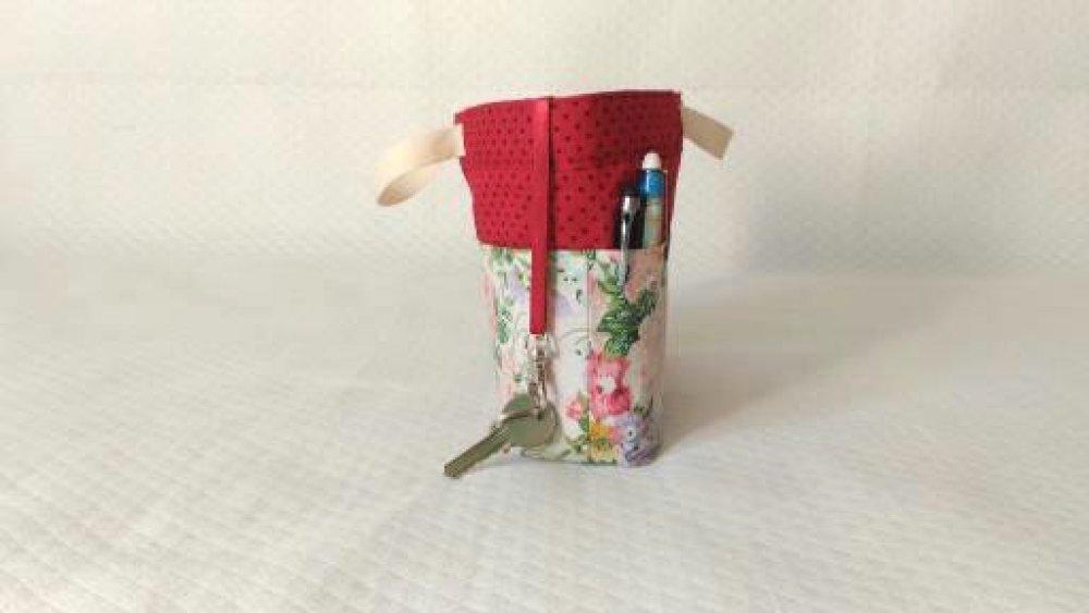 Organiseur sac à main, pochette multi usages coton imprimé floral