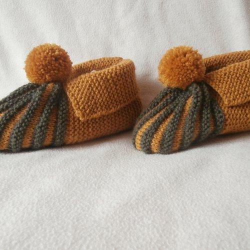 Chaussons, pantoufles femme, laine ambre et bronze, p. 37/38