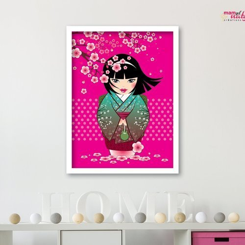 Affiche déco enfant kokeshi sakura rose kawaii