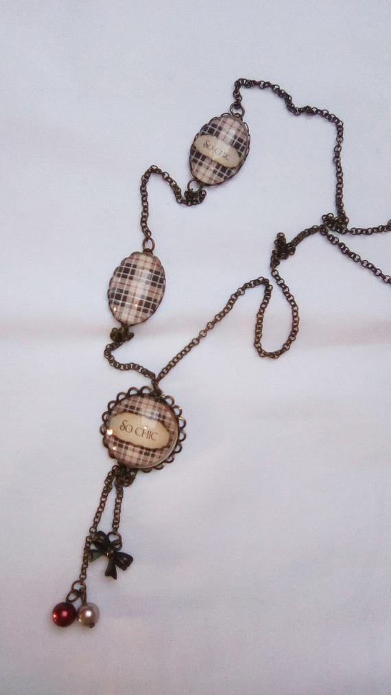 collier sautoir écossais beige noir