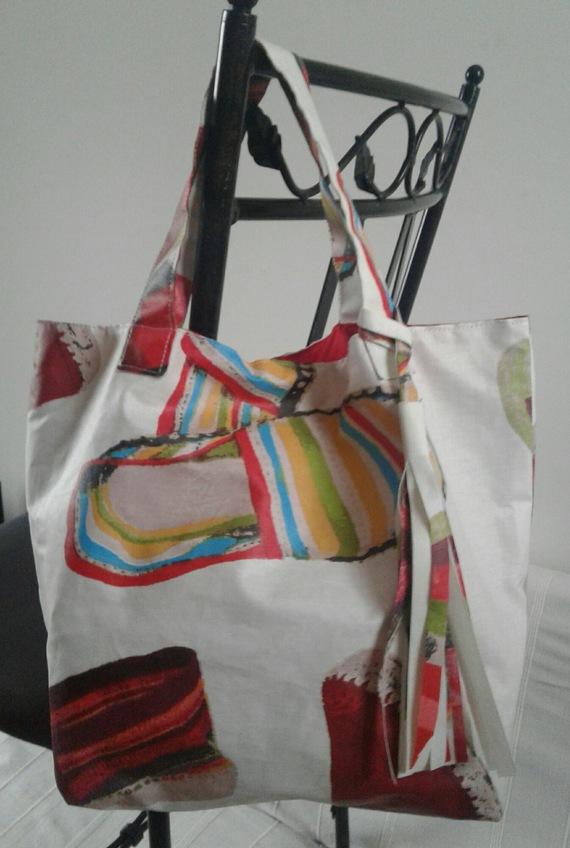 sac blanc cassé multicolore espadrilles