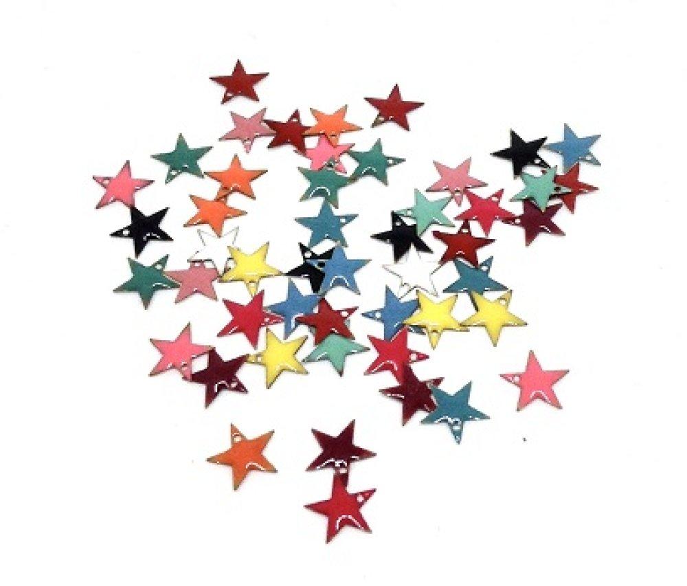 Sequin/Breloque étoile émaillée orange x2