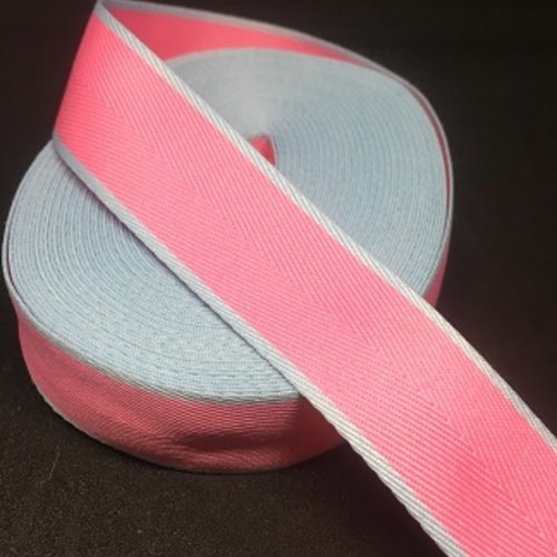Ruban sergé rose et bleu  - 25mm