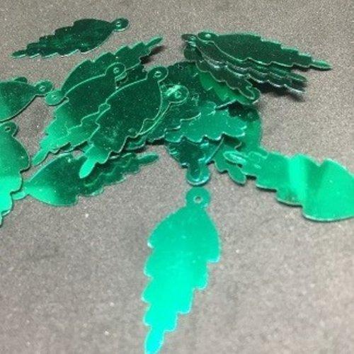 Paillettes plates feuilles vertes