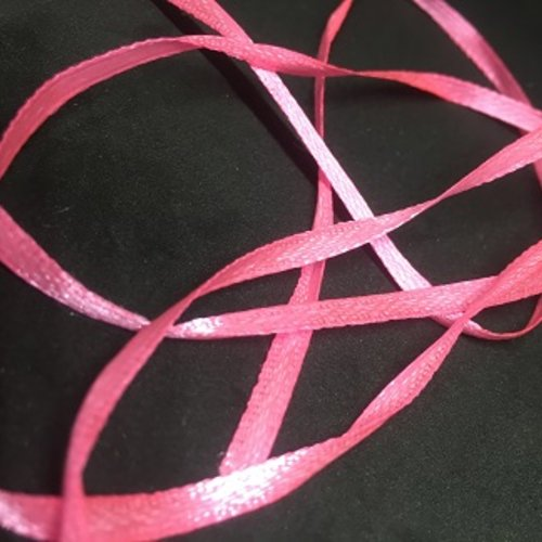 5m de ruban satin rose fluo - 3mm