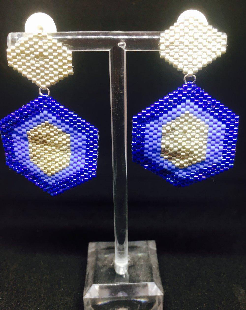 Boucles d'oreilles en perles Miyuki bleus et argent