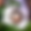 """Collier / broche """" enfants romantiques """" : cabochon en verre (30x 40 mm),motif enfants fille et garçon,  cadenas et clé bronze"""