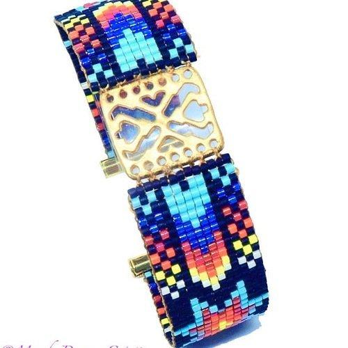 Bracelet intercalaire doré ajouré et aux motifs mexicains en perles tissées multicolores, delicas miyuki