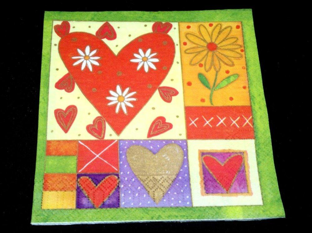 "serviette papier/napkin  ""Cœur, St Valentin"""