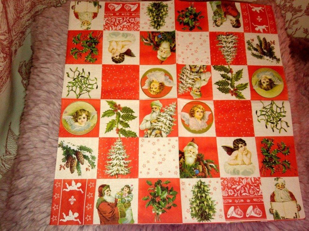"""serviette papier/napkin  """"Noël, Vignettes"""""""