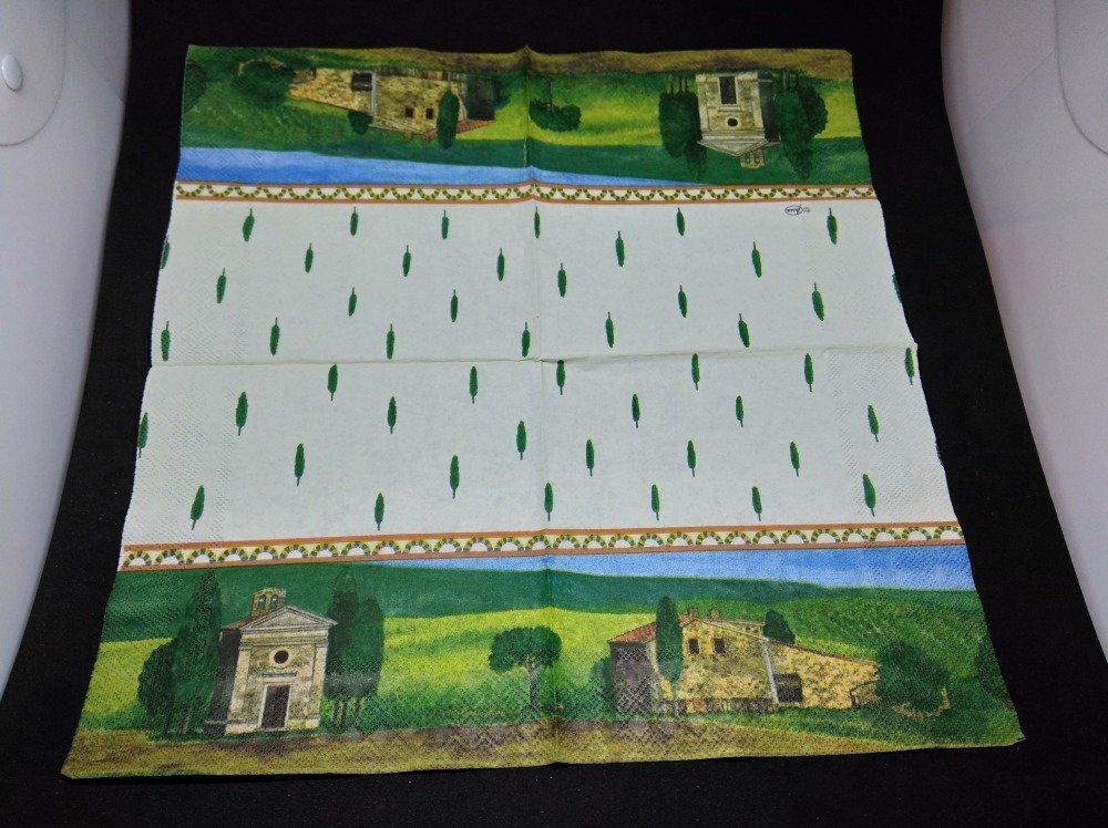 """serviette papier/napkin  """"Paysage de Provence, cyprès"""""""