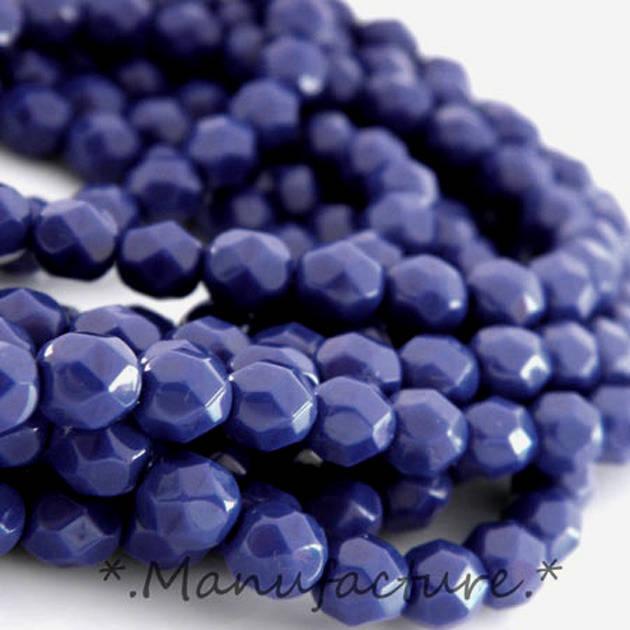Perles à facettes verre tchèque 6mm bleu marine opaque x50