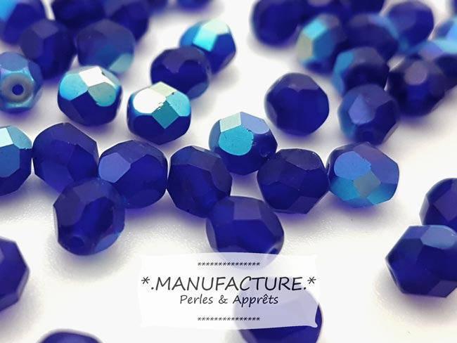 Perles à facettes verre tchèque 6mm bleu cobalt mat AB x50