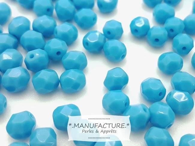 Perles à facettes verre tchèque 6mm bleu turquoise x50