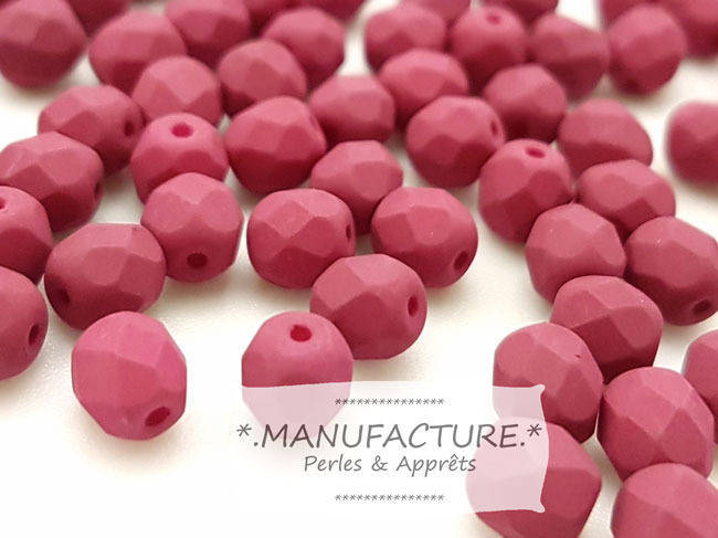 Perles à facettes verre tchèque 6mm rouge bordeaux mat x50