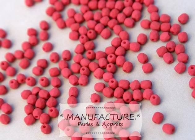 Perles à facettes verre tchèque 3mm rouge bordeaux mat x100