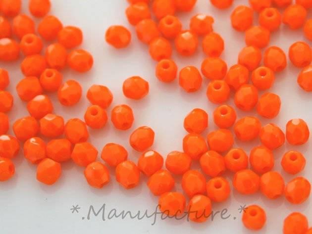 Perles à facettes verre tchèque 3mm orange opaque x200