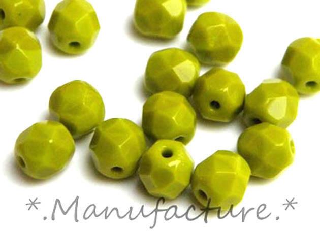 Perles à facettes verre tchèque 6mm vert olive opaque x50