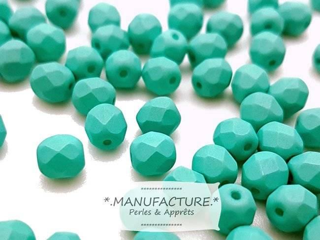 Perles à facettes verre tchèque 6mm vert menthe mat x50