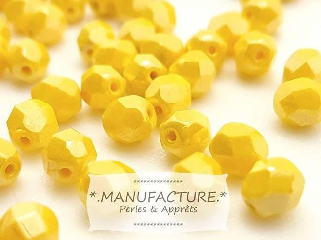 Perles à facettes verre tchèque 6mm jaune opaque lustré x50