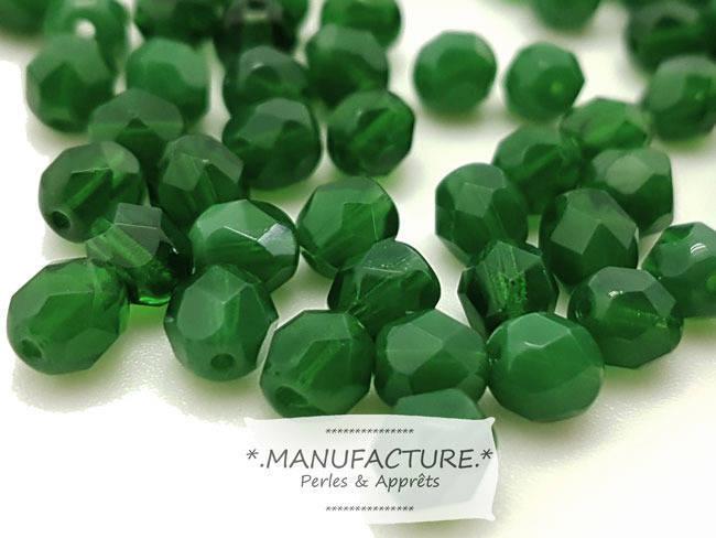 Perles à facettes verre tchèque 6mm vert foncé opal x50