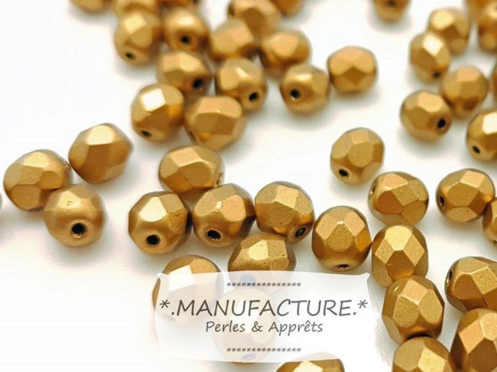 Perles à facettes verre tchèque 6mm jaune doré mat x50