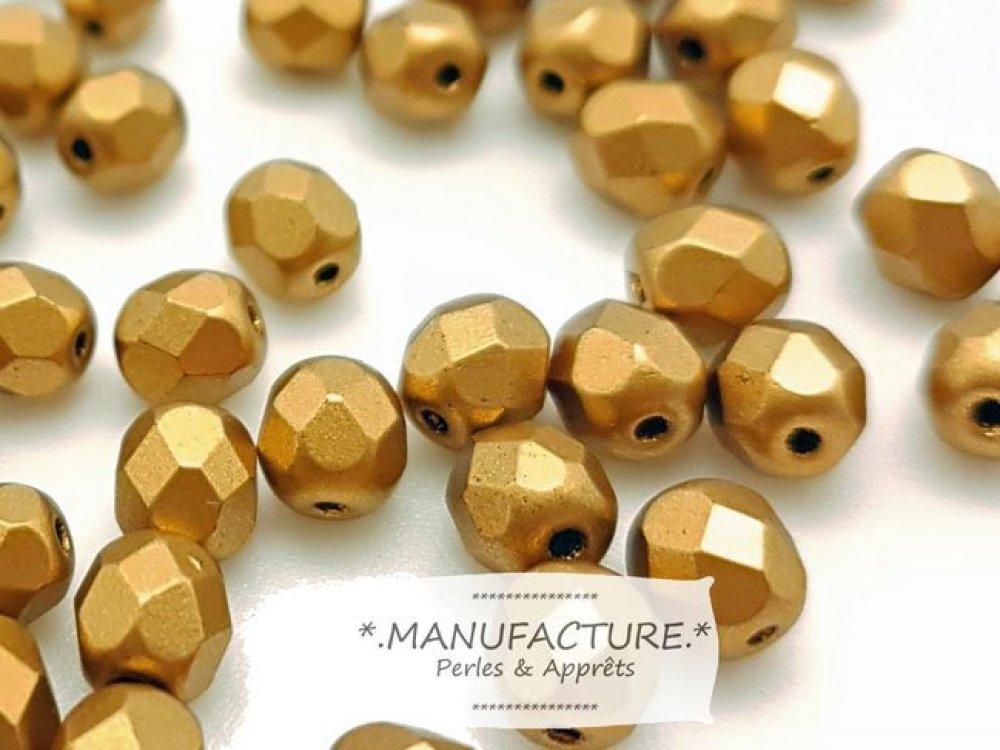 Perles à facettes verre tchèque 8mm jaune doré mat x20