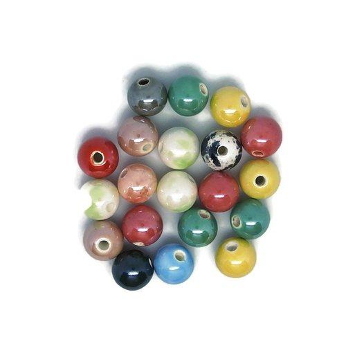 20 perles en céramique de couleur aléatoire