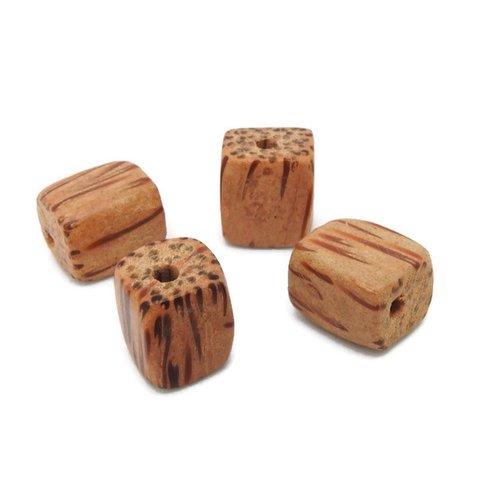 4 perles bois exotique cube