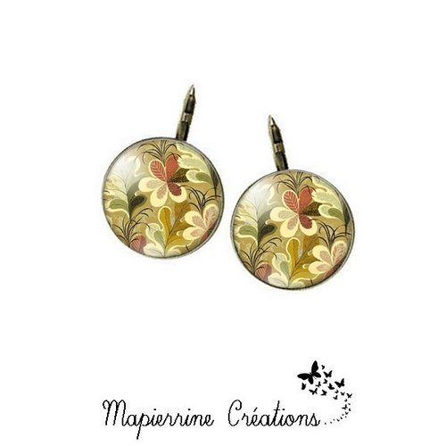 Boucles d'oreilles dormeuse métal bronze cabochon verre feuillage d automne
