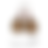 Boucles d'oreilles dormeuse métal bronze cabochon verre fleuri