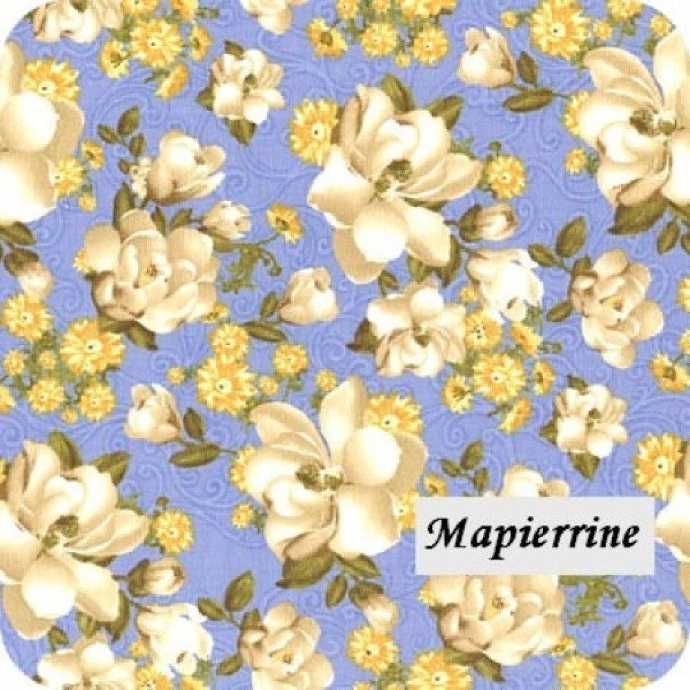 Tissu 100% coton couture, patchwork 45 x55 cm FLEURS FOND BLEU