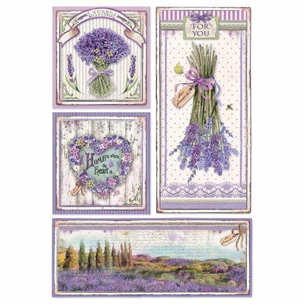 1 feuille de papier de riz 21 x 29,7 cm découpage collage X STAMPERIA LAVANDE PROVENCE 4364