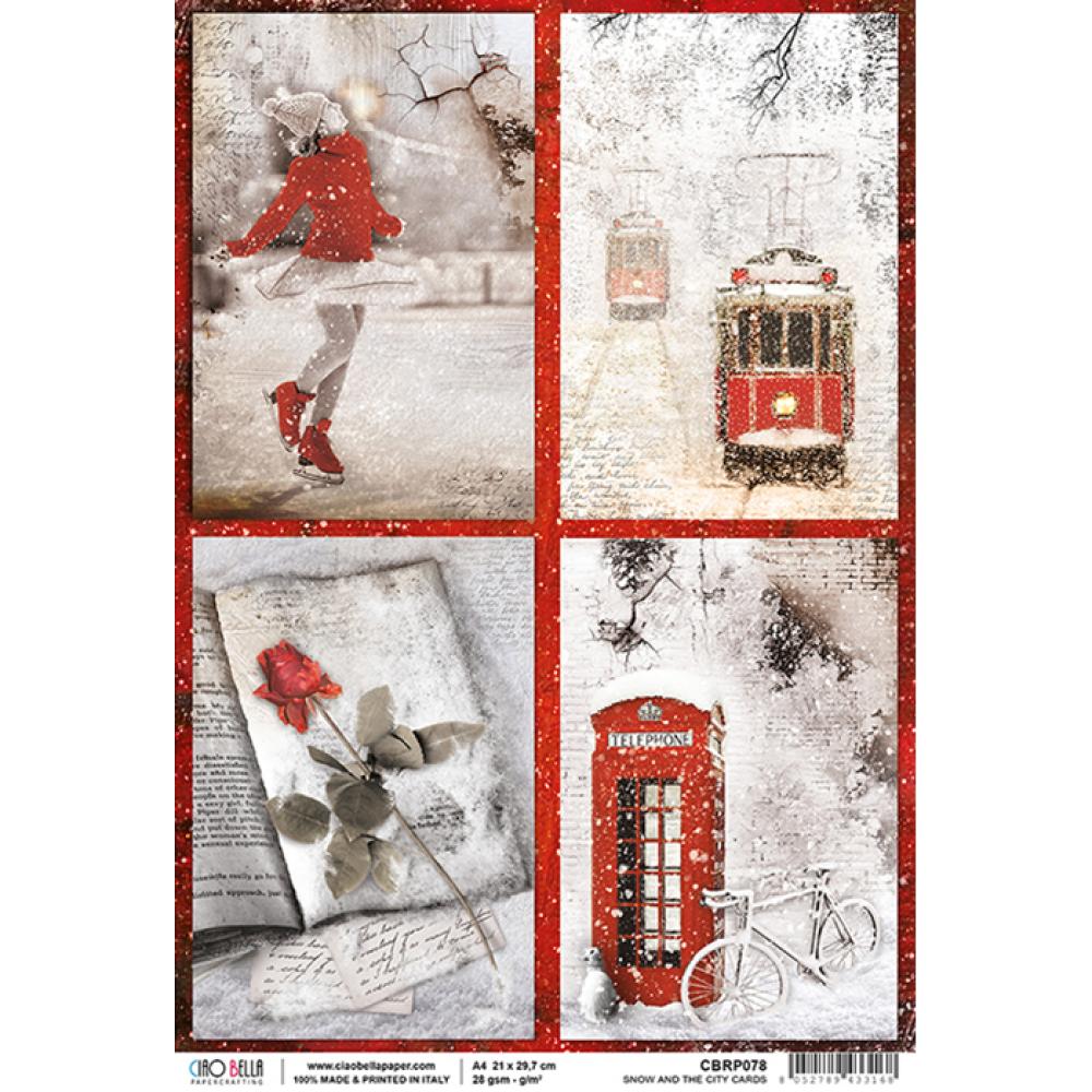 1 feuille de papier de riz 22 x 32 cm découpage collage X CIAO BELLA SNOW AND THE CITY CARDS