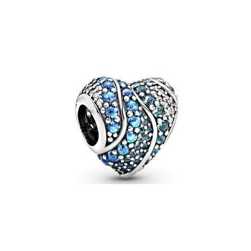 charms argentée coeur strass bleu