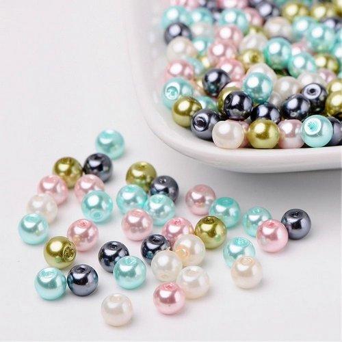 Perles ronde de verre nacré 6 mm en mélange fabrication bijoux bleu rose vert gris