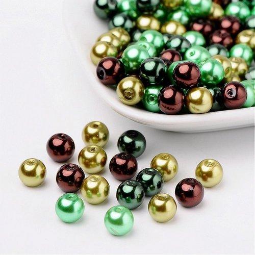Perles ronde de verre nacré 8 mm en mélange fabrication bijoux vert marron