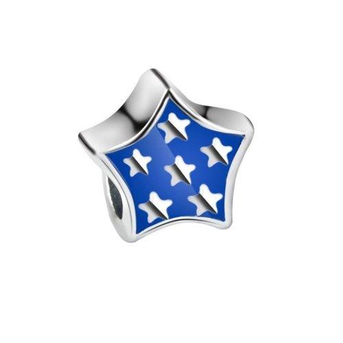 1 perle européenne charm métal  argenté etoile bleu