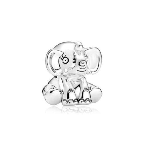 1 perle européenne charm métal  argenté elephant