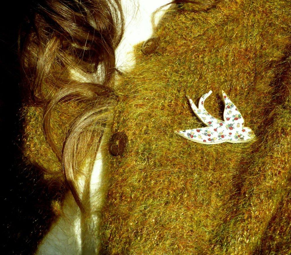 Broche* Accessoires* Hirondelle* Liberty rose