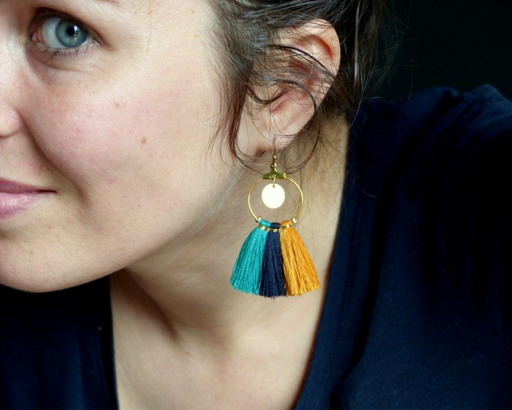 Créoles* Pompons* Pastille dorée* Tricolores* Moutarde/ bleu marine/ Turquoise