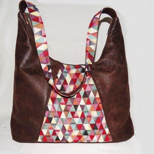 Grand sac à main porté épaule original et pratique femme