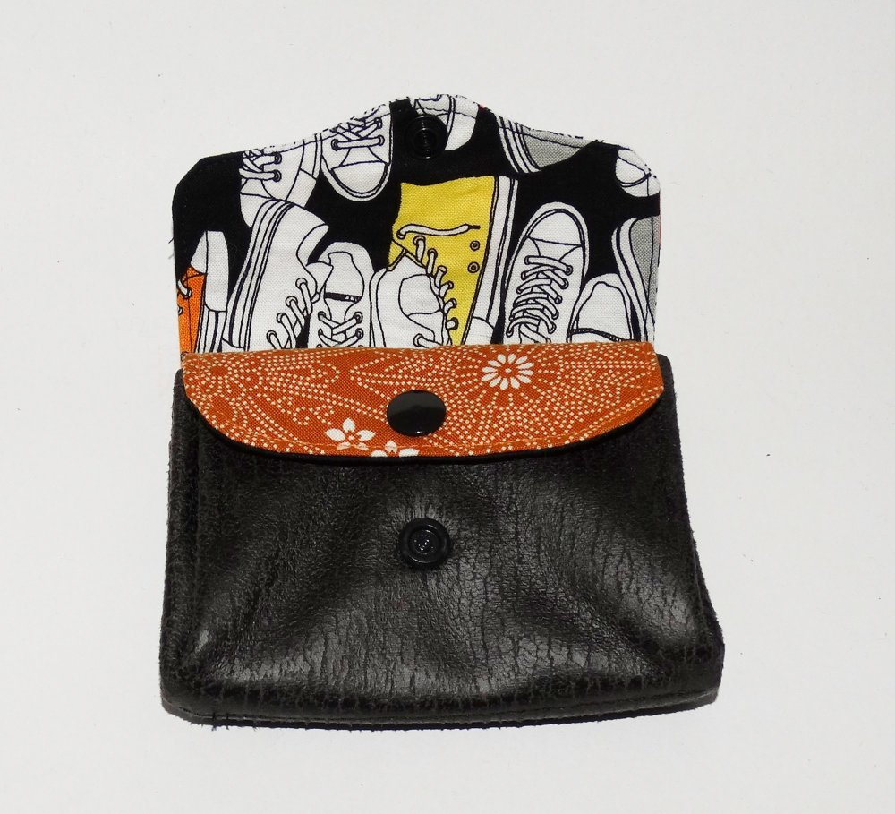 Porte-monnaie  accordéon pour homme, 3 compartiments, tissu gothique , faux-cuir noir vieilli, hibou,  original, pratique