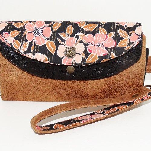 Grand portefeuille femme, compagnon,  double rabat faux-cuir camel et noir,  tissu fleurs et motifs   dragonne amovible