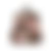 Porte-monnaie rétro femme,  bourse  vintage ,tissu noir, motif floral, fleurs roses, feuilles caramel , fermoir métallique bronze