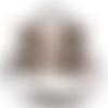Sac à main cartable  femme , faux cuir marron tissu noir, grandes fleurs blancs et cognac, bandoulière réglable