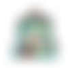 Porte-monnaie rétro  femme, bourse vintage en tissu vert  avec lamas /alpages et des enfants ,mignon, ethnique  fermoir métallique bronze